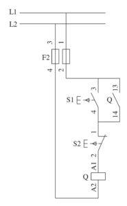 Teleavviamento diretto di un motore asincrono trifase schema funzionale